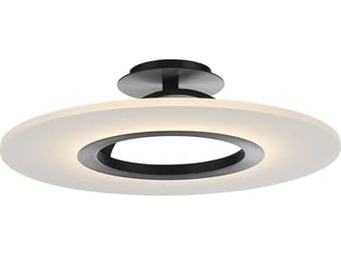 dweLED by WAC Lighting Elektron Black 1-light 20'' Wide LED Convertible Semi-Flush Mount / Pendant Light DWLFM21720BK