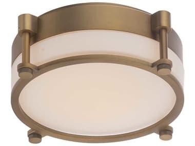 dweLED by WAC Lighting Wright Aged Brass 1-light 14'' Wide Glass LED Flush Mount Light DWLFM46014AB