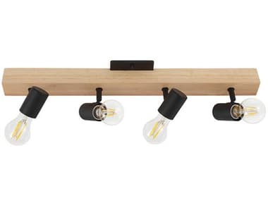 Eglo Kingswood Brown / Black 4-light 24'' Wide Convertible Track & Rail / Wall Light EGL98114A