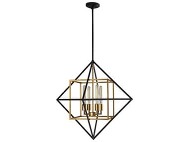 Eglo Pryor Black / Gold 4-light 26'' Wide Medium Chandelier EGL204683A