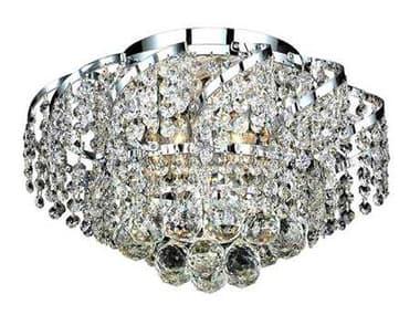 Elegant Lighting Belenus Royal Cut Chrome & Crystal Six-Light 16'' Wide Flush Mount Light EGECA1F16C