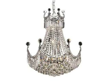 Elegant Lighting Corona Royal Cut Chrome & Crystal Nine-Light 20'' Wide Chandelier EG8949D20C