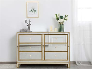 Elegant Lighting Reflexion Antique Gold Six-Drawers Double Dresser EGMF72017G
