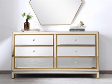 Elegant Lighting Reflexion Antique Gold Six-Drawers Double Dresser EGMF72036G