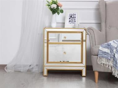 Elegant Lighting Reflexion Antique Gold Nightstand EGMF72016G