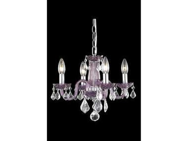 Elegant Lighting Rococo Royal Cut Purple & Crystal Four-Light 15'' Wide Mini Chandelier EG7804D15PE