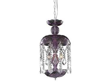 Elegant Lighting Rococo Royal Cut Purple & Crystal Three-Light 11'' Wide Pendant EG7803D11PE