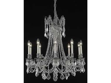 Elegant Lighting Rosalia Royal Cut Pewter & Crystal Ten-Light 28'' Wide Grand Chandelier EG9210D28PW