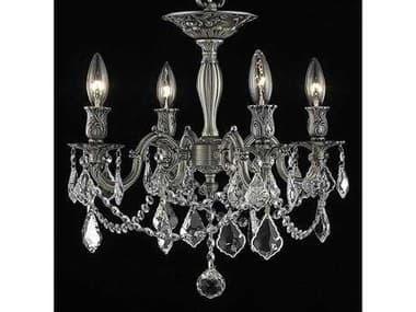 Elegant Lighting Rosalia Royal Cut Pewter & Crystal Four-Light 17'' Wide Semi-Flush Mount Light EG9204F17PW