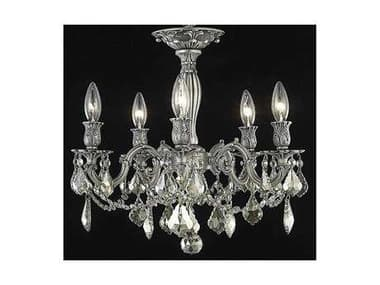 Elegant Lighting Rosalia Royal Cut Pewter & Golden Teak Five-Light 18'' Wide Semi-Flush Mount Light EG9205F18PWGT