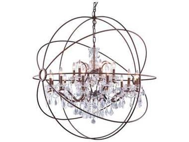 Elegant Lighting Urban Royal Cut Red Rusted Painted & Crystal 18-Light 44'' Wide Chandelier EG1130G43RI