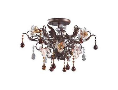 Elk Lighting Cristallo Fiore Deep Rust & H& Blown Florets Three-Light 19'' Wide Semi-Flush Mount Light EK70443