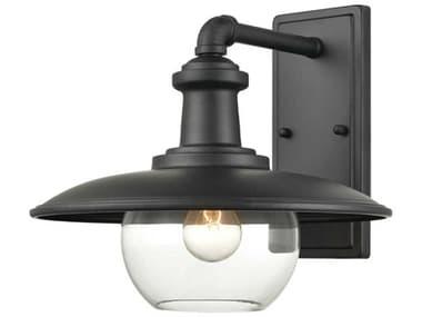 Elk Home Jackson Matte Black 1-light 13'' Wide Glass Industrial Outdoor Wall Light EK454311