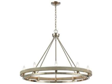 Elk Home Ramsey Satin Nickel / Beechwood 10-light 34'' Wide Industrial Medium Chandelier EK7506710