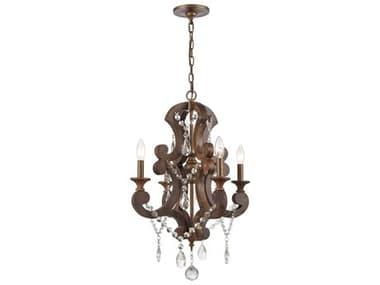 Elk Home San Sebastian Spanish Antiquewood / Dark Bronze 4-light 19'' Wide Crystal Glass Mini Chandelier EK122554