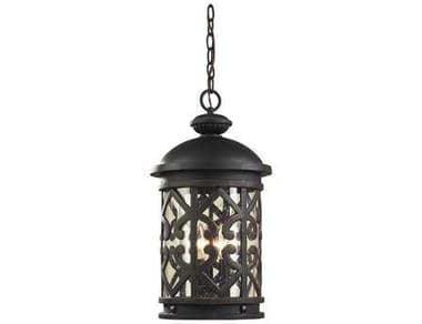 Elk Lighting Tuscany Coast Weathered Charcoal & Clear Seeded Glass Three-Light Outdoor Hanging Light EK420633