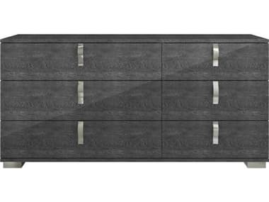 Essential For Living Vivente Noble Grey Birch High Gloss Acrylic Lacquer 68.5'' x 19'' Six-Drawer Dresser ESL2126GBHG