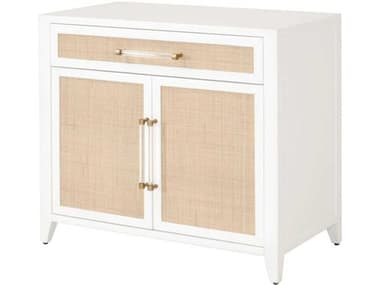 Essentials for Living Traditions Holland Matte White / Natural Brushed Brass Accent Cabinet ESL6146WHTNAT