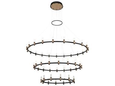 Eurofase Lighting Albany Deep Black / Brass 51-light 59'' Wide LED Large Chandelier EUL37046019