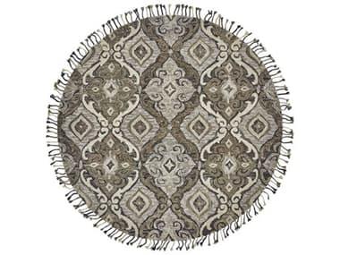 Feizy Rugs Abelia Ivory / Gray 8' x 8' Round Area Rug FZ8676FIVORYGRAYROU