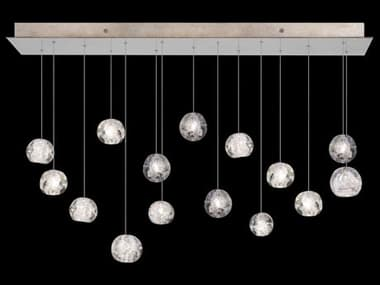 Fine Art Lamps Natural Inspirations Gold Tone Silver Leaf with Nebula Glass 15-Light 48'' Wide Island Light FA853740206ST