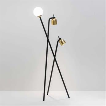 Fontana Arte Tripod Black & Brass Three-Lights LED Floor Lamp FONU4398N