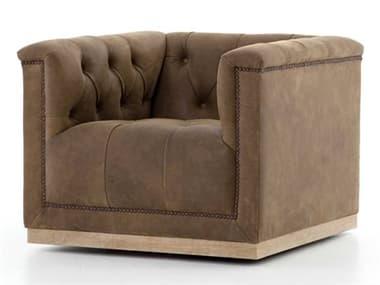 Four Hands Kensington Aged Bronze Nailhead / Umber Grey Whitewash Swivel Accent Chair FSCKENF4Z061
