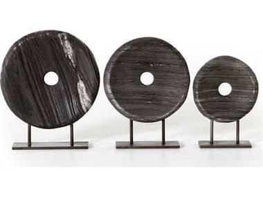Four Hands Rockwell Natural Iron / Rough Black Marble Sculpture (Set of 3) FSIRCK139