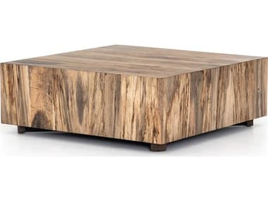 Four Hands Wesson Spalted Primavera / Oxidized Iron 40'' Wide Square Coffee Table FSUWES214