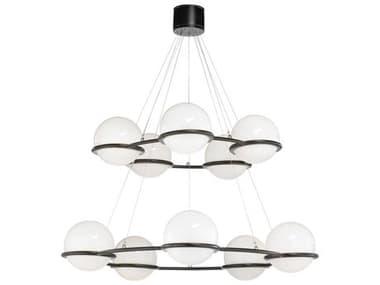 Frederick Cooper Black / White 10-light 54'' Wide Glass LED Large Chandelier FDC65730