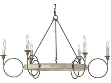 Gabby Bailey White Washed Wood with Rust Six-Light 44'' Wide Chandelier GASCH290275