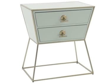 Gabby Home Jonah Pastel Blue, Stainless Champagne Two-Drawers Nightstand GASCH158430