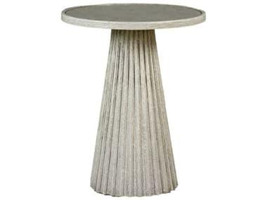 Gabby Kingsley Antique Mirror & Textured Antique White 20'' Wide Round Pedestal Side Table GASCH153900