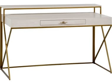 Gabby Home Cerused White / Antique Brass Ember Secretary Desk GASCH191243