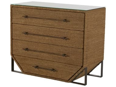Gabby Home Natural Seagrass / Antique Bronze Metal Four-Drawer Chase Single Dresser GASCH165090