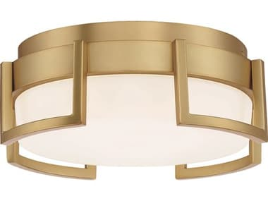 George Kovacs Bezel Set Honey Gold 1-light 10'' Wide Glass LED Flush Mount Light GKP9531248L