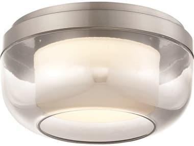 George Kovacs First Encounter Family Brushed Nickel 1-light 10'' Wide Glass LED Flush Mount Light GKP9521084L