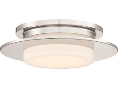 George Kovacs Press Polished Nickel 1-light 14'' Wide Glass Flush Mount Light GKP2016613L