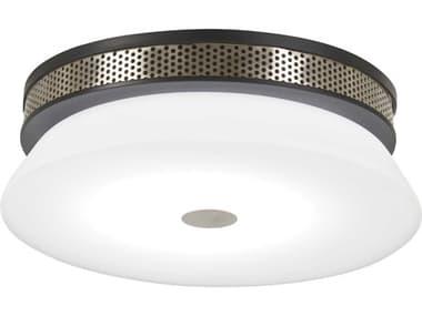 George Kovacs Taunten Coal / Brushed Nickel 1-light 15'' Wide Glass LED Flush Mount Light GKP955691L