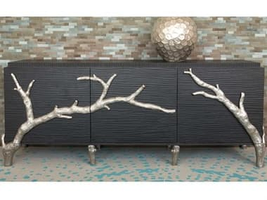 Global Views Branch Black Distressed Lacquer 87'' x 24'' Cabinet GV991394