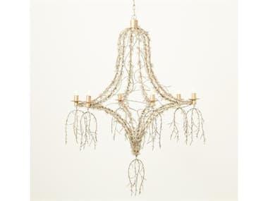 Global Views Antique Gold 6-light 38'' Wide Glass Medium Chandelier GV791100