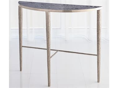 Global Views Antique Nickel 39'' Wide Demilune Console Table GV791138