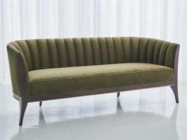 Global Views Mossy Green Velvet / Dark Waxed Oil Walnut Sofa Couch GV2578