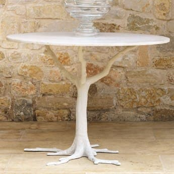 Global Views White Faux Bois Marble 41.75'' Round Dining Table GV881266