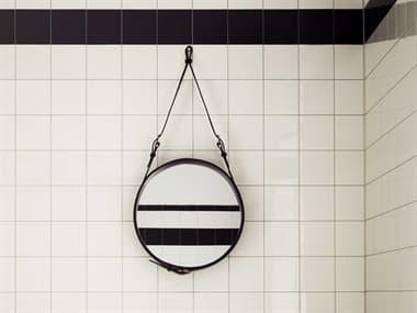 Gubi Adnet Black Leather 18'' Wide Round Wall Mirror GUB10004036
