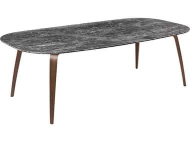 Gubi Grey Emerador Marble / American Walnut Semi Matt Lacquered 90'' Wide Rectangular Dining Table GUB10012904