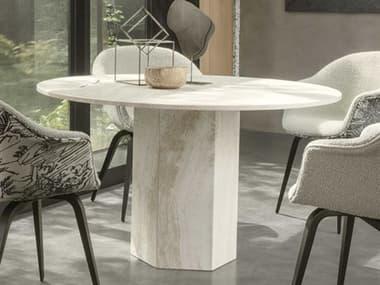 Gubi Epic White Travertine 51'' Wide Round Dining Table GUB10042390