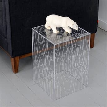 Gus* Modern Timber Clear Acrylic 12'' Wide Square End Table GUMECCTTIMBCA