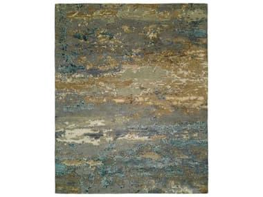 Harounian Rugs Rosewood Light Blue / Gold Rectangular Area Rug HARRO1427LIGHTBLUEGOLD