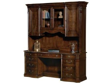 Hekman Office Old World Walnut Burl Executive Credenza Desk with Deck HK79161SET1
